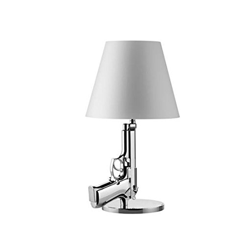 Lámpara LED E27, 40 W, diseño de pistola, color dorado y plateado