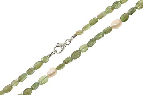 apatita (verde)/perla de agua dulce cadena Diámetro 4–5x 7–9mm Longitud 45cm, mosquetón plata 925