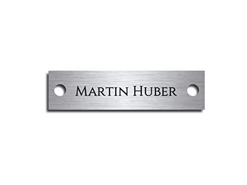Edelstahl Türschild mit Gravur | Namensschilder Briefkastenschild selbstklebend oder mit Bohrlöcher 8x2 cm eckig mehr als 80 Motive Klingelschild/Türschild für die Haustür mit Namen selbst gestalten