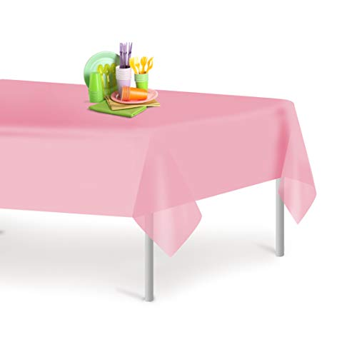 Pink 12 Pack Premium Disposable Plastic Tablecloth 54 Inch. x 108 Inch. Rectangle Table Cover By Grandipity