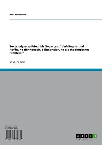 Textanalyse zu Friedrich Gogarten: