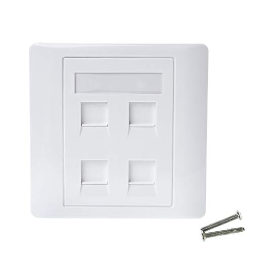 86 - Placa de pared (4 puertos, red LAN, teléfono RJ45, cable ethernet)