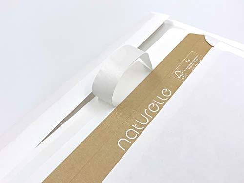 100 buste per lettera, 'Natura' = colore bianco antico, bianco perlato, bianco crema, 220 x 110 mm, strip adesivo, stampato all'interno in marrone, buste senza finestre