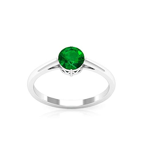 Rosec Jewels 10 quilates oro blanco redonda Green Emerald