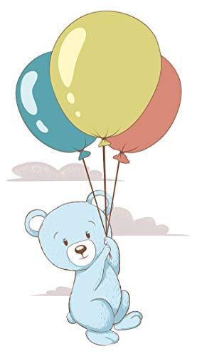 Wandtattoo Babyzimmer Tiere Wandsticker Fliegender Teddybär mit bunten Luftball
