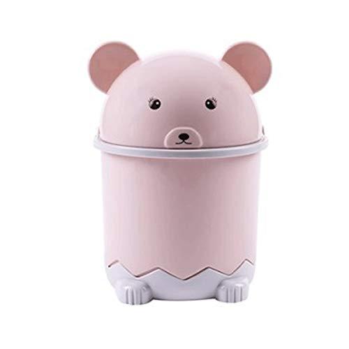 CHENClajt Papelera Cocina Bote de Basura de Basura de Dibujos Animados Lindo pequeño Oso de Escritorio Puede pequeña de Almacenamiento Creativa hogar de Materiales plásticos (Color : Pink)