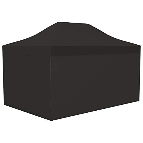 Vispronet Profi Faltpavillon/Faltzelt Basic 3x4,5 m, Schwarz, Stahl-Scherengitter, 4 volle Zeltwände, Befestigungs-Set (weitere Farben & Größen)