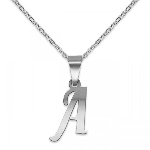 SoulCats® polierter Buchstaben Kettenanhänger aus Edelstahl in Silber; Buchstabe: A