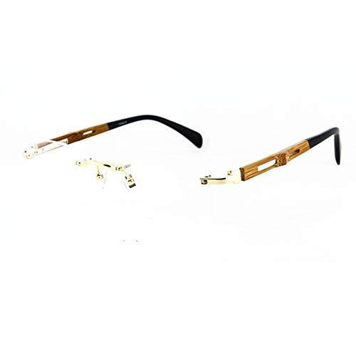 100% Pure Titanium Bamboo Eyeglass Frames Rimless Men Women Glasses Eyewear (Gold)