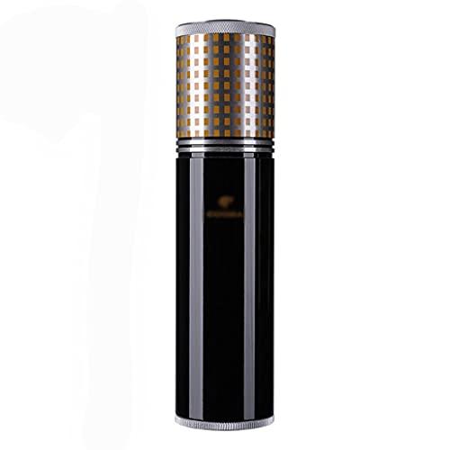 Portasigari Portatile Humidor, Tubo per sigari da Viaggio con Mini igrometro e umidificatore, portasigari in Acciaio Inossidabile, Contenere 3-4 sigari (Color : Black, Size : 20×5cm)