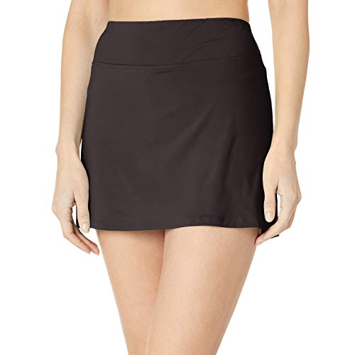 24th & Ocean Women's Skirted Built-in Short Skort Bikini Swimsuit Bottom, Black, L