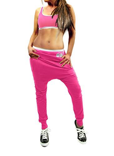 Damen Jogging Freizeit Sport Chiller Jogger Hose Chino Aladin Style mit Gesäß Slogan in schwarz, grau oder pink, Farbe:Pink, Größe:XS