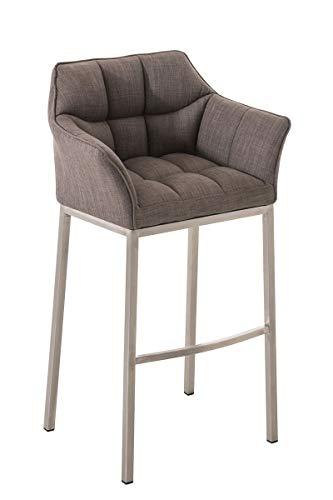 CLP Barhocker DAMASO Stoff mit 4-Fuß Gestell I Barstuhl mit sesselförmigem, pflegeleichtem Sitz und hochwertiger Polsterung, Farbe:grau, Gestell Farbe:Edelstahl