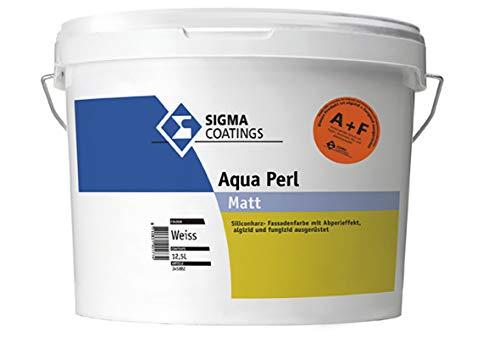 SIGMA Aqua Perl A&F weiß 12,5 Liter - wasserabweisende Silikonharz-Fassadenfarbe mit Abperleffekt
