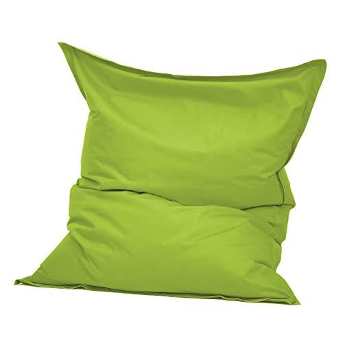 Green Bean © Square XXL Indoor Riesensitzsack aus Baumwolle 140x180 cm - 380 Liter EPS Perlen Füllung - waschbar, mit Innensack - Sitzkissen Bodenkissen Sitzsack für Kinder & Erwachsene - Hellgrün