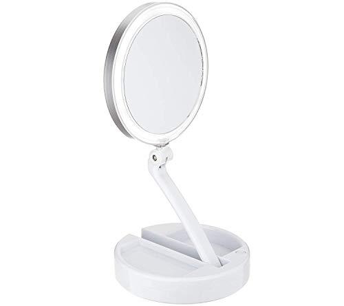 Floxite Lighted Folding Vanity & Travel Mirror (10X Circle Light)