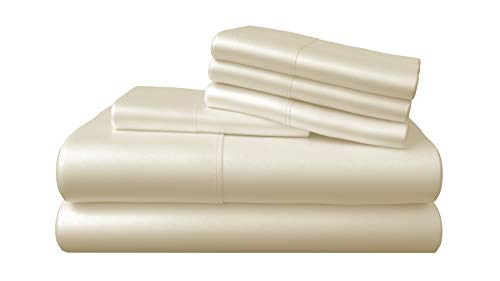 Bamboo Bay 6-Piece Bamboo Sheet Set - Soft as Supima Cotton Sheets (10 Colors) - Soft, Breathable & Cooling 100% Viscose from Bamboo - Extra Deep Pocket, No-Slip Fitted Sheet (King Size, Ivory)