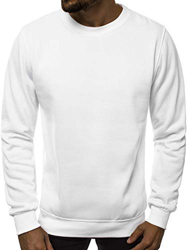 Ehpow Herren Sweatshirt Crew Neck Langarm Basic Pullover(Medium,Weiß)