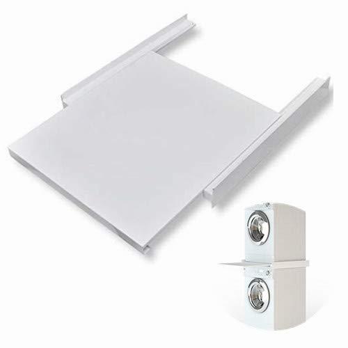 Zwischenbaurahmen mit Ablage Universal Säule Arbeitsplatte Waschmaschine Trockner Verbindungsrahmen aus Stahl, Weiß, 60 x 60 x 8 cm