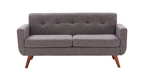 Tbfit 67' W Loveseat Sofa, Mid Century Modern Decor Love Seats Furniture, Button Tufted Upholstered Love Seat Couch for Living Room (Dark Grey)