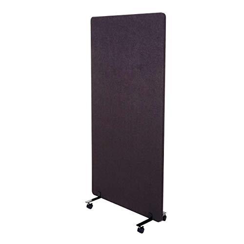 Mendler Akustik-Trennwand HWC-G77, Büro-Sichtschutz Raumteiler Pinnwand, doppelwandig rollbar Stoff/Textil - 167x80cm braun-grau
