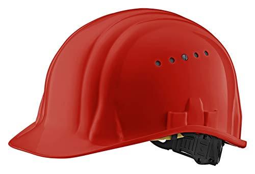 EU Schutz - Casco - En 397 Ajustable Trabajo Casco - Casco de construcción con 6 Puntos de Correa, Rojo