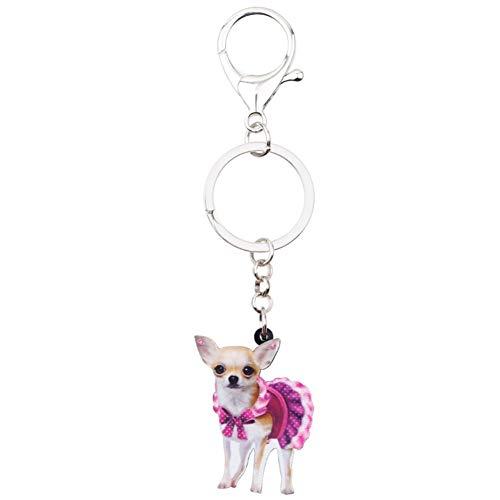 HXYKLM Acryl Leuke Roze Jurk Chihuahua Hond Sleutelhangers Sleutelhanger Ringen Dierlijke Sieraden Voor Vrouwen Meisje Dames Handtas Auto Bedels