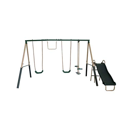 XDP Recreation Central Park Metal A-Frame Kids Swing Set with 6 Child Capacity Outdoor Backyard Playground with Slide, Trapeze Swing, Fun-Glider, and 2 Traditional Swing Seats, Green