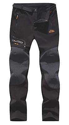 BenBoy Men's Snow Ski Outdoor Waterproof Windproof Fleece Cargo Hiking Pants,AN-SF1602M-Black1-S