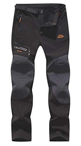 BenBoy Herren Wanderhose Wasserdicht Softshellhose Outdoorhose Winddicht Warm Gefüttert Skihose Snowboardhose Winter Trekkinghose,KZ1672M-Black2-S