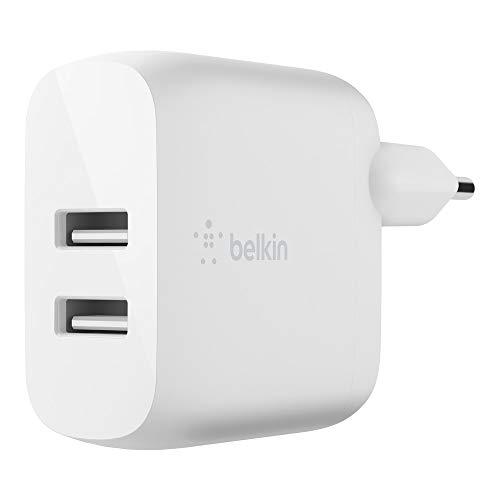 Belkin Boost Charge USB-A-Ladegerät mit zwei Anschlüssen, 24 W (USB-Netzladegerät für iPhone12, 12Pro, 12Pro Max, 12 mini und ältere Modelle, S20, S20+, S20 Ultra und Pixel 4)