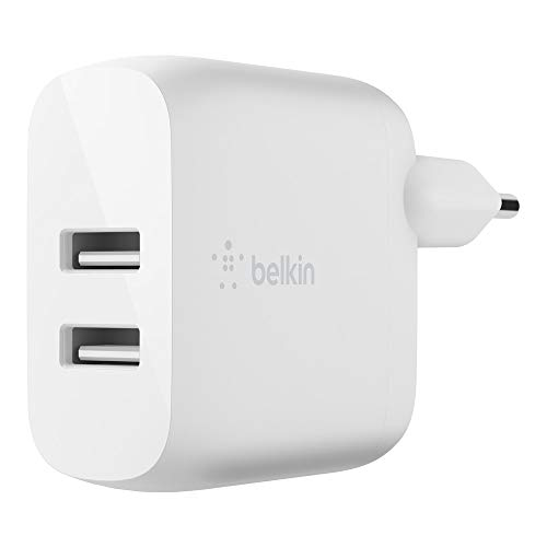 Belkin cargador de pared doble USB-A BoostCharge de 24 W, para iPhone12, 12Pro, 12Pro Max, 12 mini y modelos anteriores, Samsung S20, S20+, S20 Ultra, Pixel 4 y otros