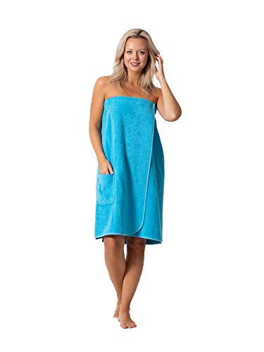 Women's Terry Cloth Spa and Bath Towel Wrap with Adjustable Closure & Elastic Top (Turquoise, Large/One Size)