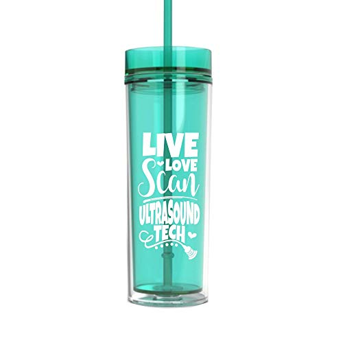 Ultrasound Tech Gifts for Women Funny Live Love Scan Tumbler Cup with Straw and Lid Water Bottle Mint 0203