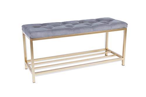 LIFA LIVING Sitzbank mit Ablage für Schuhe in Gold/grau, Schuhbank mit Sitzfläche aus Samt für den Eingangsbereich, 90 x 32,5 x 43 cm