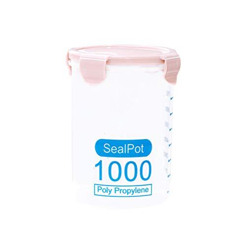 Bestonzon Boîte de conservation hermétique en plastique étanche avec couvercles de verrouillage Convient pour céréales, farine, sucre, riz (rose 1000 ml)