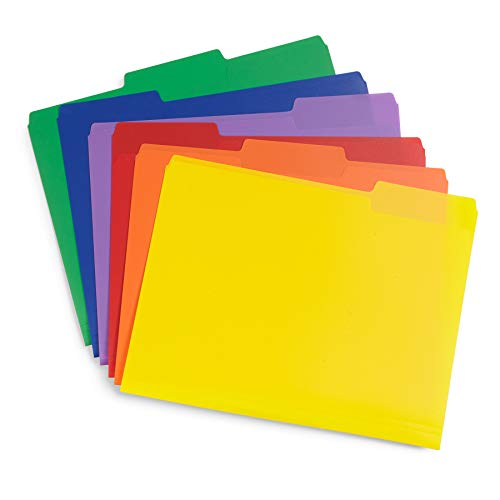 Blue Summit Supplies Plastic File Folders, 1/3 Cut Tab, Heavy Duty Multi Colored Poly Folders, Letter Size, 30 Pack