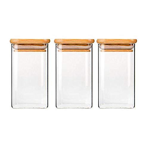 250ml Quadratische Vorratsgläser - 3er Stapelbare Vorratsdosen Set – Vorratsbehälter aus Borosilikatglas -Glasbehälter Gewürzgläser mit Bambusdeckel –Ideal für Spaghetti, Gewürze, Süßigkeiten