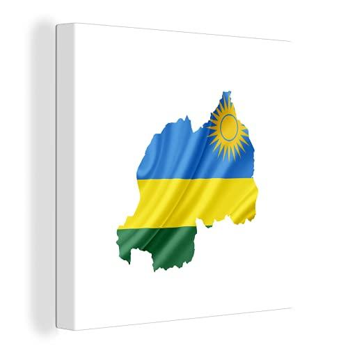 Leinwandbild - Illustration der Flagge von Ruanda in der Form des Landes - 120x90 cm