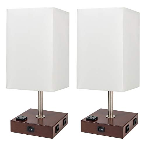DEEPLITE Lamps for Bedrooms Set of 2, Bedside Lamp with USB Ports and AC outlet, Modern Table Lamp for Nightstand, End/ Side Table, Dresser, Office Desk, Wood Rustic Lamp for Living Room, Dorm Reading
