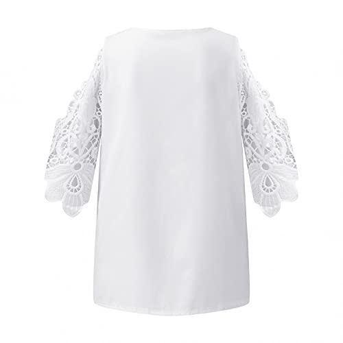 Zldhxyf Camiseta de manga corta para mujer con cuello en V y estampado de verano, Blanco, XXL
