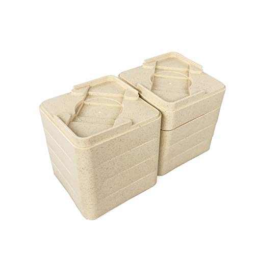 Natural Fiber Bed Risers Square Furniture Risers Lift Bed Frame Create Under Bed Storage Dorm Set of 8 Pieces, Add 2.5 or 5 cm