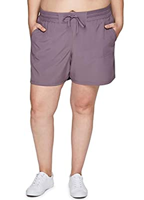RBX Active Women's Plus Size Relaxed Fit Breathable Ventilated Stretch Woven Athletic Walking Short with Pockets S20 Purple 1X