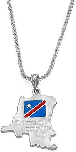 Collar República Democrática del Congo Mapa y Bandera Collares Colgantes Joyas étnicas de Color Dorado