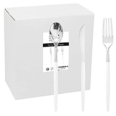 WELLIFE 144 Pack Silver Plastic Cutlery with White Handle, Disposable Silver Flatware Perfect for Parties and Wedding, Includes: 48 Silver Forks, 48 Silver Knives, 48 Silver Spoons