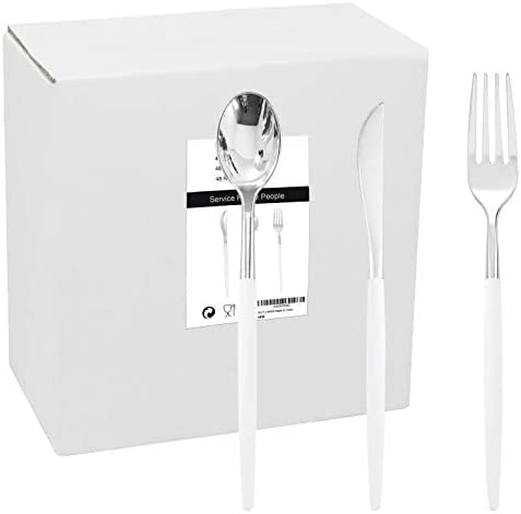 WELLIFE 144 Pack Silver Plastic Cutlery with White Handle Disposable Silver Flatware Perfect product image