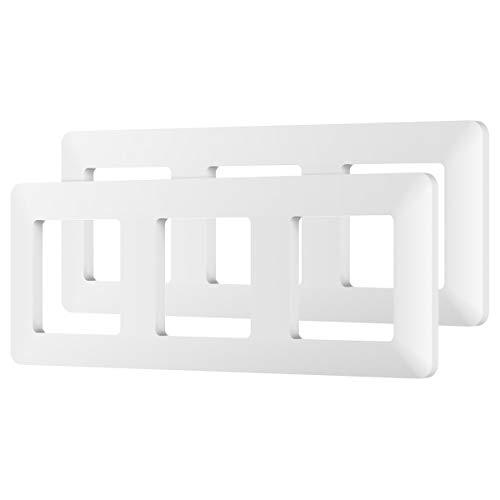 MoKo Placa de Pared Universal, [2 PZS / 3 Gang] Placa de Pared para Interruptor de Llave, Enchufe Inteligente, Combinación Perfecta Flexible con Absorción Magnética - Blanco