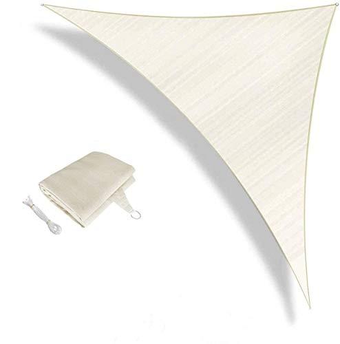 Sunnylaxx Tenda a Vela Triangolare 3 x 3 x 4.2 Metri, Vela Ombreggiante Resistente e Traspirante per Giardino, Balcone & Terrazza, Colore Crema
