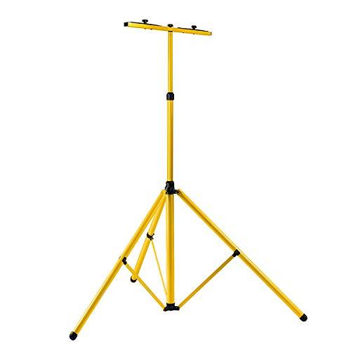 Hengda Stativ für LED-Strahler Höhenverstellbar Flutlicht Ständer Baustrahler Stahlstativ LED Fluter Arbeitsleuchten und Flutern – Gelb (inkl. Trägerteil für 2 Strahler)