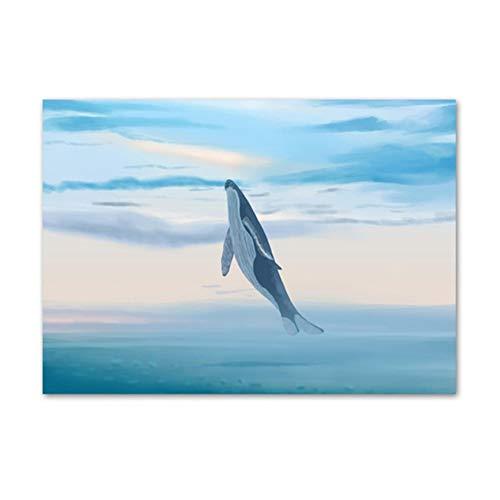 YIYAOFBH modern duk tryckt Cartoon Whale Poster heminredning Nordic Aquarell flicka målning väggkonst bild vardagsrum-60 x 80 cm ingen ram